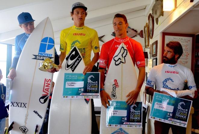 Les finalistes de l'étape de La Torche avec (de gauche à droite) : Gaspard Larsonneur (2e), Nelson Cloarec (vainqueur), Jorgann Couzinet (3e) et Julien Rémi (4e).
