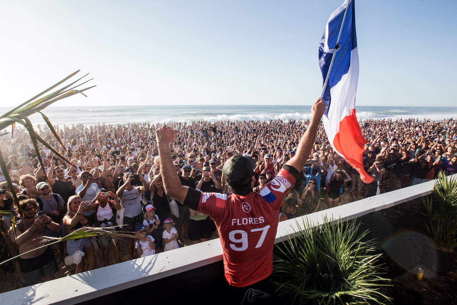 HOSSEGOR, FRANCE - OCTOBER 11: Jeremy Flores of France wins the 2019 Quiksilver Pro France for the first time in his career making it the first time a Frenchman has won in the history of the event at Le Graviere on October 11, 2019 in Hossegor, France.  (Photo by Laurent Masurel/WSL via Getty Images)